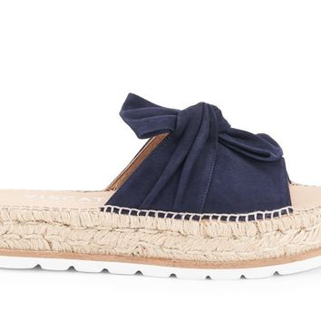 Senia Suede Platform Mix Sole Slide Sandal with Bow - Navy