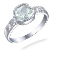 Sterling Silver Green Amethyst Ring (1.90 CT)