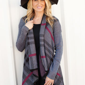 Plaid Open Sweater