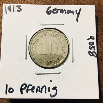 1913 German Empire 10 Pfennig Coin 9058