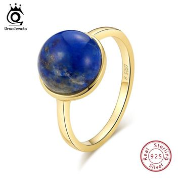 ORSA JEWELS Authentic 925 Sterling Silver Women Rings Simple Design Natural Lapis Lazuli Anniversary Ring Fashion Jewelry SR69-L