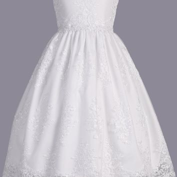 Girls White Floral Embroidered Lace Tulle Communion Dress 6-12