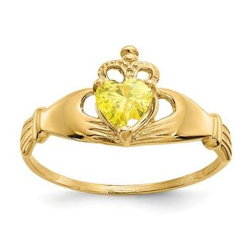 14k Yellow Gold Yellow Heart Polished Claddagh Ring