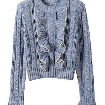 high quality women's autumn winter warm sweater brand runway fashion wool knitted flare sleeve ruffles pullover Sweater jumper