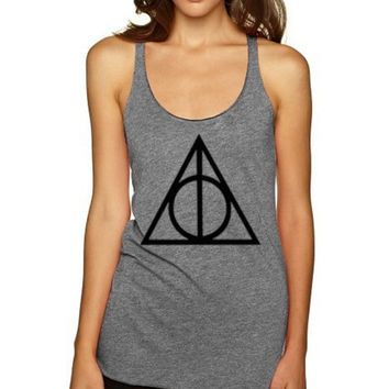 DEATHLY HALLOWS Harry Potter Magic Spell Tank top Tshirt women clothing- Size S M L XL