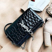 YSL Women Fashion New Diamond Letter Leather Chain Tassel High Quality Shoulder Bag black