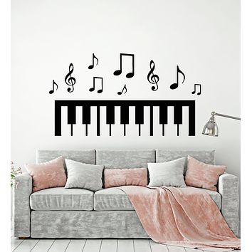 Vinyl Wall Decal Piano Music Notes Black White Art Decor Stickers Mural (g455)