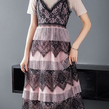 Knit Top and Lace Tiered Dress Set