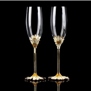 New Luxury 2pcs/set Crystal Champagne Flutes