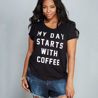 My Day Starts With Coffee Tee | Wet Seal