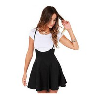 Black Pleated Skirt With Shoulder Straps