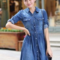 Blue roll Up Sleeve High-Waisted Denim Dress