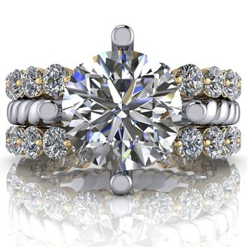 Unique Solitaire Engagement Ring - Moissanite Eternity Bands - Insieme™ Bridal Stackables Set