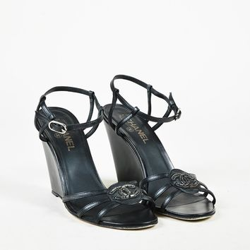 Chanel Black Leather Beaded 'CC' Ankle Strap Wedge Sandals