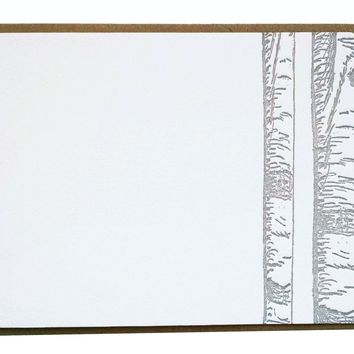 Birch Trees Letterpress Card on Thick Cotton