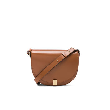 Victoria Beckham Half Moon Box Shoulder Bag in Cognac | FWRD