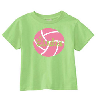 Pink Volleyball on Personalized Lime T-Shirt