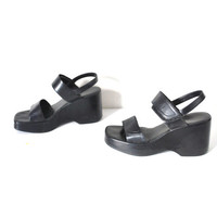 90s MINIMAL platform sandals vintage early 1990s black LEATHER club kid VELCRO platform wedges