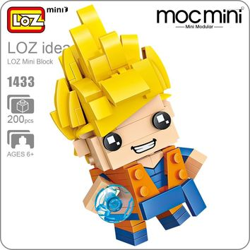 LOZ Mini Blocks Bricks Goku Super Heroes Figura Japan Anime Action Figure Plastic Building Assembly Toy for Children Gift 1433
