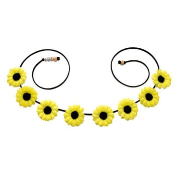 Neon Yellow Daisy Flower Crown, Flower Headband, Flower Halo, Rave Wear, Coachella Crown, Electric Daisy Carnival, Life in Color, PLUR, Ezoo