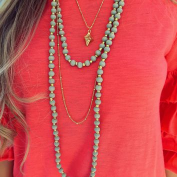 Feeling This Way Necklace: Mint/Gold