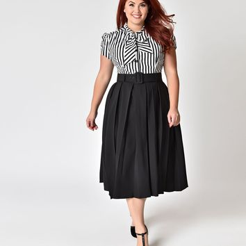Collectif Plus Size Black Pleated & Belted Harper Swing Skirt
