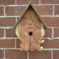 Female birdhouse - Birdhouse face - Rustic decor - Outside birdhouse - Inside birdhouse - Cedar birdhouse - Female face - Salvaged redwood