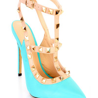 Turquoise Studded Strappy Single Sole Heels Faux Leather
