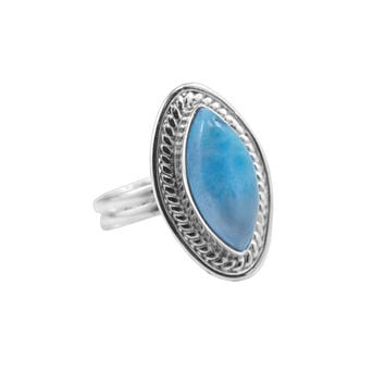 Blue Larimar Filigree Marquise Sterling Silver Ring