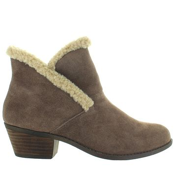 Me Too Zanna - Nutmeg Suede Furry Collar Pull-On Bootie
