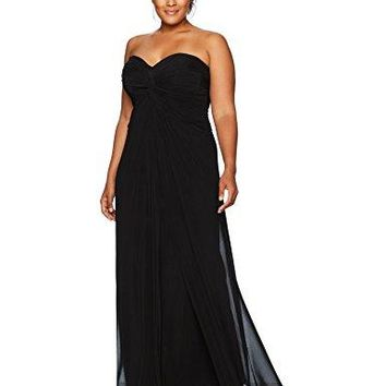 Women's Plus-Size Sweetheart Neckline Stretch Tulle Maxi Dress