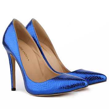 Shallow Crocodile Print Pointed Head Stiletto Heel Shoes