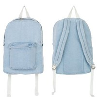 American Apparel Denim School Bag - Light Vintage Denim / Natural / One Size