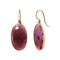 Yellow Gold and Garnet Drop Earrings by Lola Brooks Love Adorned