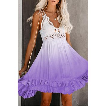 Purple Crochet V Neck Tie-dye Lace Skater Dress