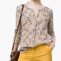 Floral Print Sleeve Button Blouse