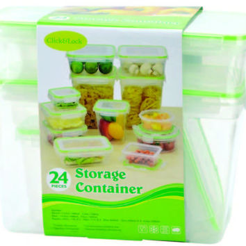 24 piece plastic container with click & lock lids Case of 6