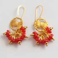 Chinese New Year Cherry Red Floral Earrings in 18k Gold, Flower Cluster Earrings, Red and Gold Dangle Earrings, JewelryFineAndDandy, SRAJD