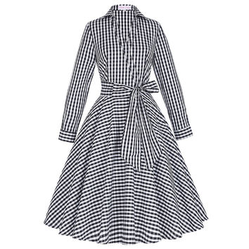 Grid Pattern Vintage 1950 Skater Dress Turn Down Collar Long Sleeve 60s Audrey Party Gowns Pin Up One Piece Rockabilly Dresses