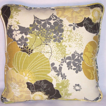 """Gold and Grey Floral Throw Pillow Richloom Amelia Flatiron 18"""" Square Cotton Basket weave Ready to Ship Insert Included Mod Flowers"""