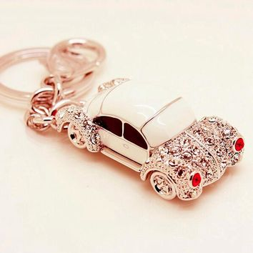 Novelty Rhinestone Cute Car keychains Volkswagen Beetle Keyring Charm Women Fashion Trinket Key Holder Souvenir Gifts White Red