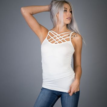 Ivory Reversible Criss Cross Cami