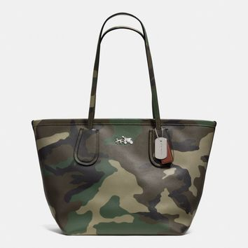 COACH TAXI ZIP TOP TOTE IN CAMO PRINT CROSSGRAIN LEATHER