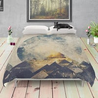 One mountain at a time , duvet cover,  Lovely bohemian, soft, wanderlust style bedding for trendy bedroom. Sleep in nature. Photography adve