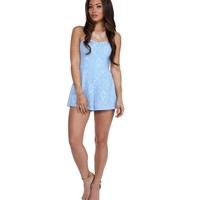 Blue Sweet Stuff Floral Lace Romper