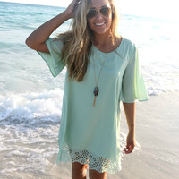 Sunny Isles Sage Lace Cutout Shift Dress