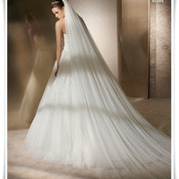 3 meters long double soft net long section of White Wedding Veil Bride veil tail veil TS135 [7655003142]