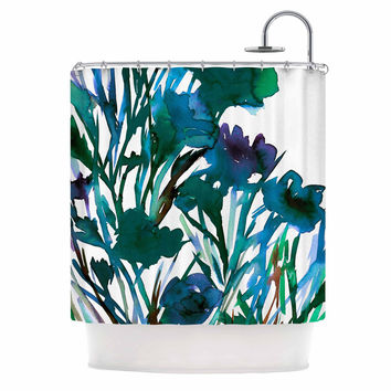 """Ebi Emporium """"Petal For Your Thoughts Teal"""" Turquoise Green Shower Curtain"""
