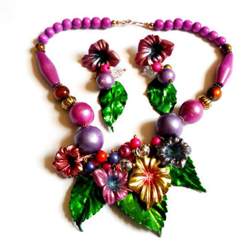 Flower Statement Necklace Earrings Set Vintage Chunky Bold Purple Green Beaded Metallic Wood Floral Summer Spring Gift Tropical Island