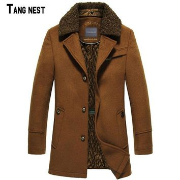 TANGNEST Men Wool & Blends 2017 New Fashion Winter Men's Long Plus Thick Warm Wool+Polyester Men's Coat Jacket MWN157